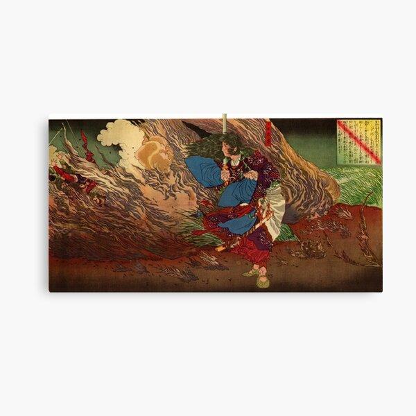 Ukiyo-e print of Samurai on a battlefield Canvas Print