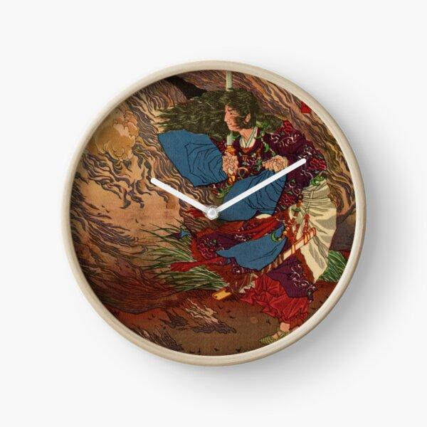 Ukiyo-e print of Samurai on a battlefield Clock