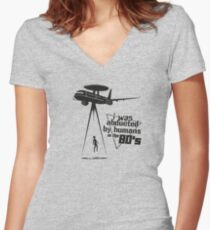 Abducted by humans Women's Fitted V-Neck T-Shirt