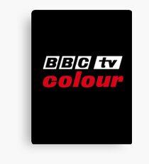 Retro BBC colour logo, as seen at Television Centre (in white) Canvas Print