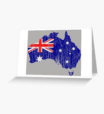 Aussie Map Australian Distressed Flag Continent Vintage Grunge Greeting Card
