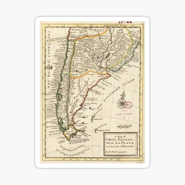 Vintage Map of Chile and Argentina (1732) Sticker