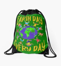 Earth Day Every Day, Save The Planet For Our Children Cute Earthy Hippie #earthday Drawstring Bag
