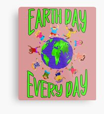 Earth Day Every Day, Save The Planet For Our Children Cute Earthy Hippie #earthday Metal Print