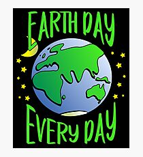 Cute Earth Day Hippie Earth in Space #earthday Photographic Print