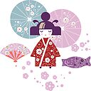 Illustration Of A Girl Japanese Woman In Kimono With Parasol Fish Vetroduem Fan Floral Decor Cherry Blossom Flowers Cherry Blossom Sticker By Svetichch Redbubble