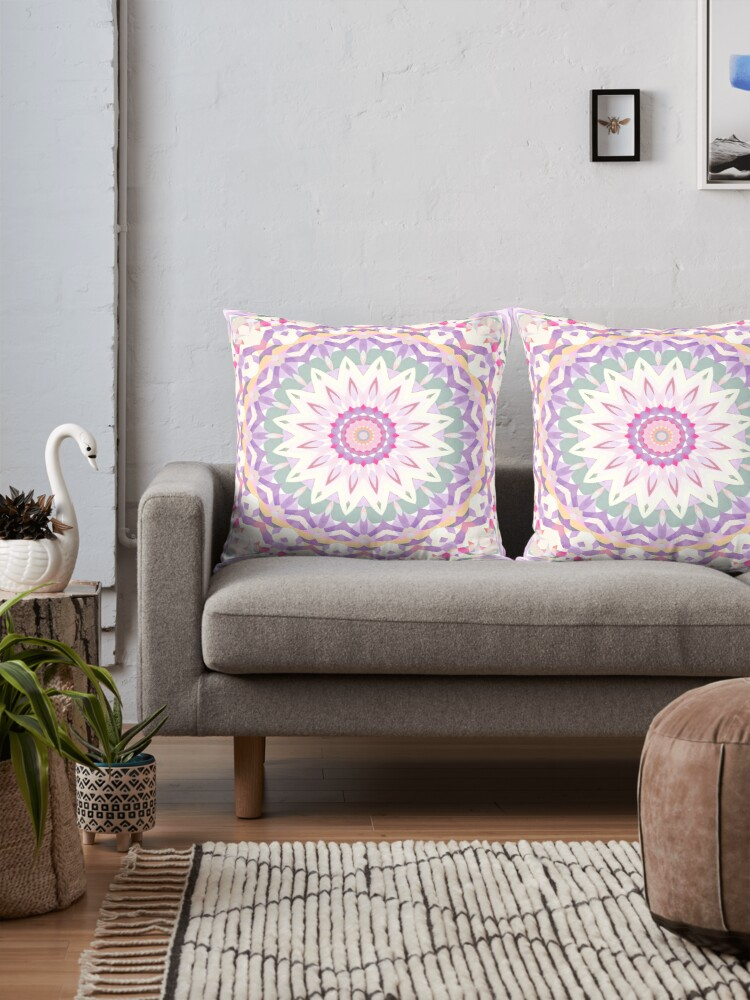 Calypso Mandala in Pastel Purple, Pink, Green, and White by Kelly Dietrich