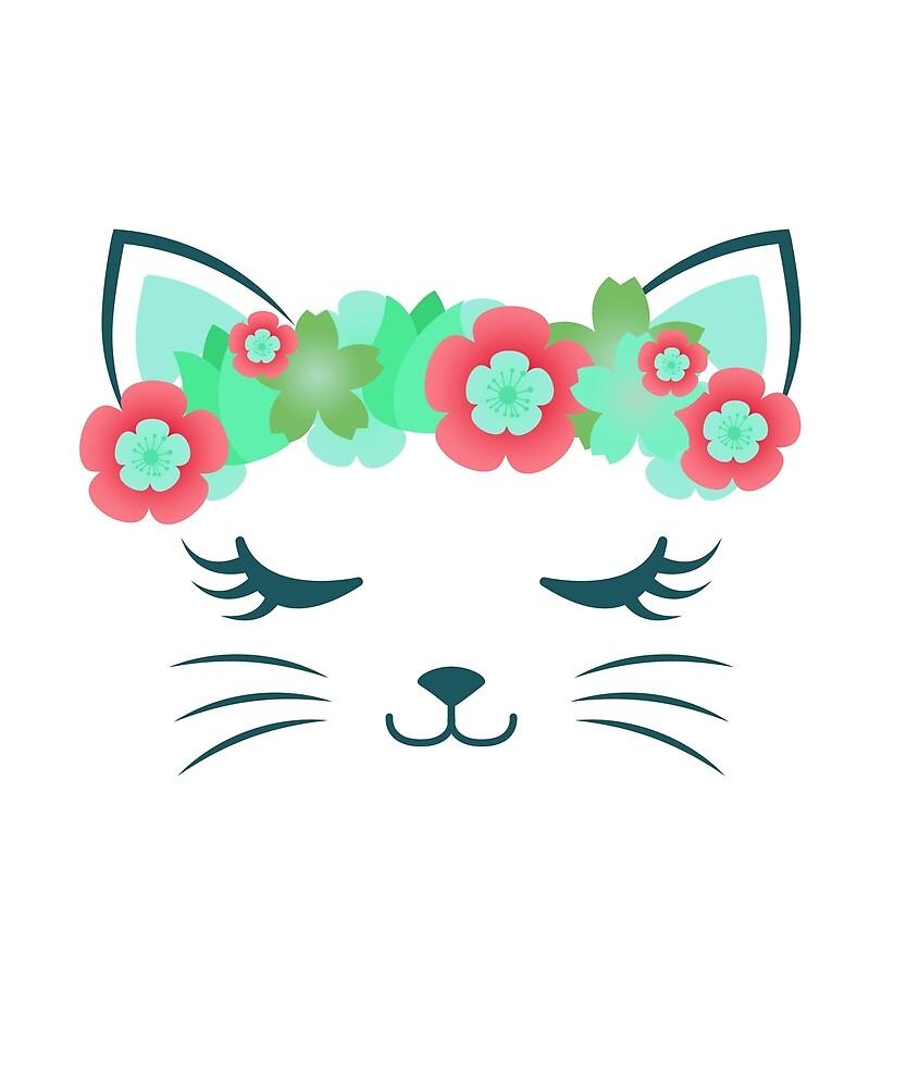 Kawaii Cat Kitty Kat Flower Crown Cute Cat Cat Party Cat Gift