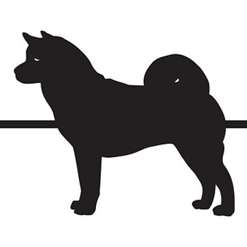 Heartbeat / Pulse - Female Akita Dog Silhouette  by SandpiperDesign