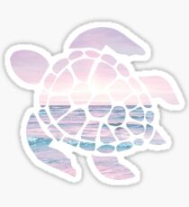 Sea Turtle Pink Beach Sticker