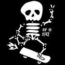 Rip in Peace Skateboarding Skeleton by rarlyann
