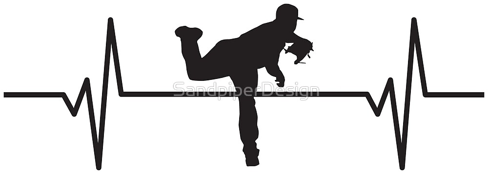 heartbeat pulse baseball player pitcher silhouette by