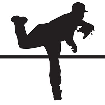 Heartbeat / Pulse - Baseball Player / Pitcher Silhouette  by SandpiperDesign