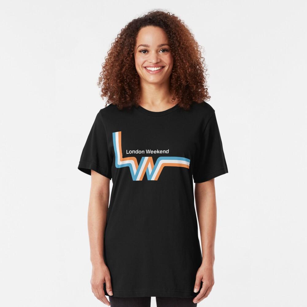 """Retro LWT """"ribbon"""" television logo  Slim Fit T-Shirt"""