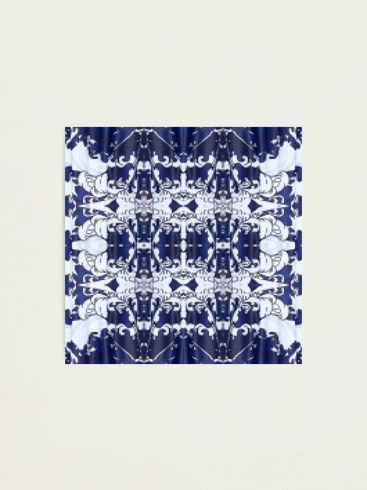 Alternate view of Cobalt blue, Pattern,tracery,weave,figure,structure,framework,composition,frame,texture Photographic Print