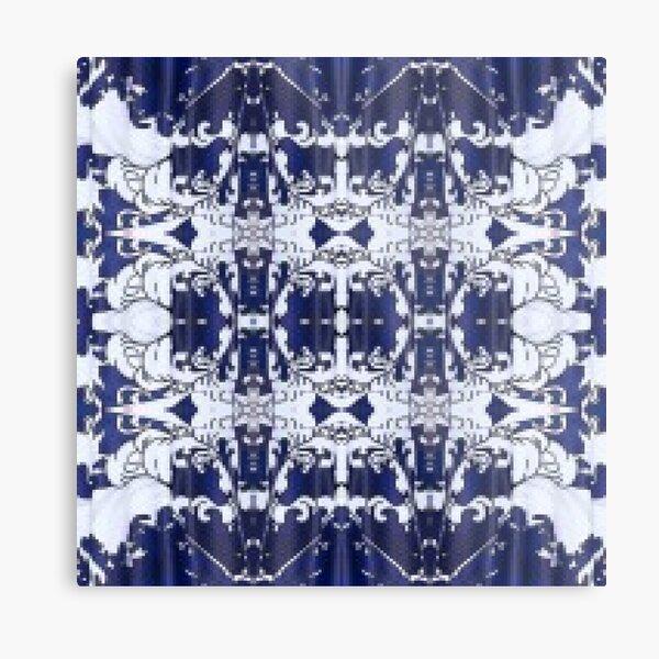 Cobalt blue, Pattern,tracery,weave,figure,structure,framework,composition,frame,texture Metal Print