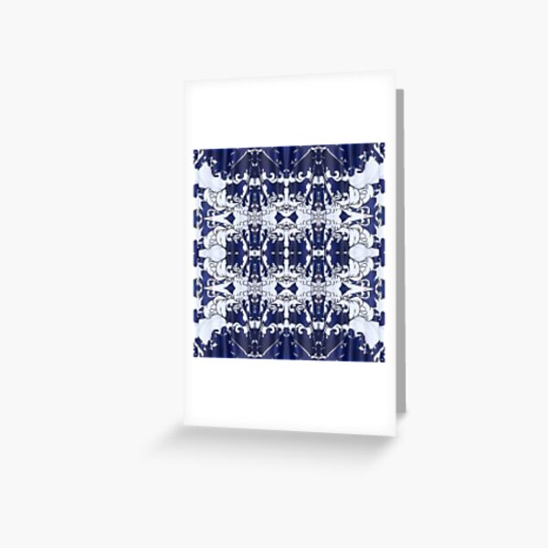 Cobalt blue, Pattern,tracery,weave,figure,structure,framework,composition,frame,texture Greeting Card