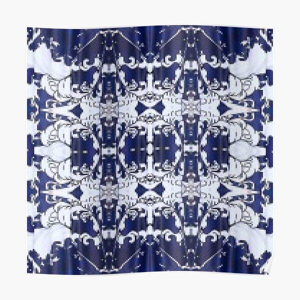 Cobalt blue, Pattern,tracery,weave,figure,structure,framework,composition,frame,texture Poster