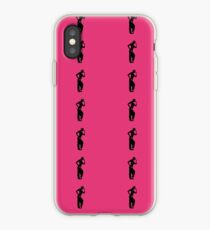 Dancer silhouette on pink background iPhone Case