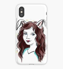 Girl with Rabbit Ears iPhone Case/Skin