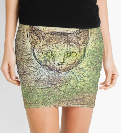 Cat on his way home Mini Skirt