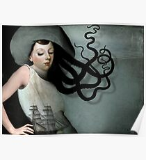 Girl with a sailing ship Poster