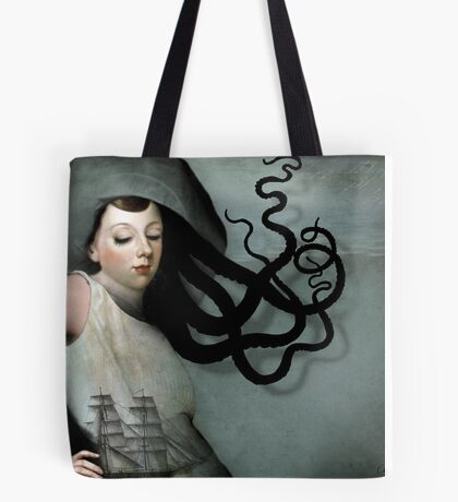 Girl with a sailing ship Tote Bag