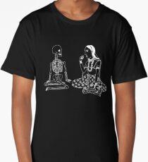 White on black minimalist line drawing Long T-Shirt