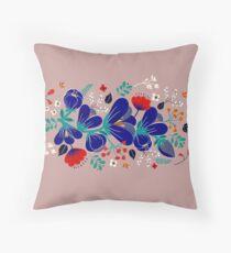 Folk spring flowers  Throw Pillow