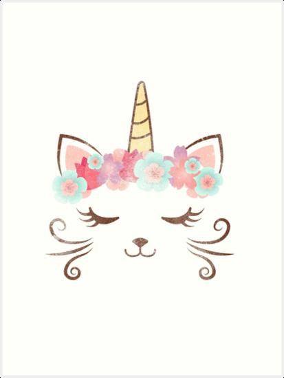 Vintage Kawaii Unicat Kitty Kat Einhorn Blume Krone Susse Katze