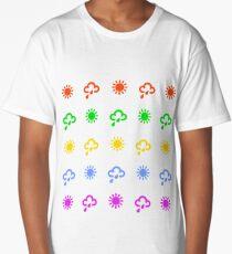 Colourful weather forecast symbols design  Long T-Shirt