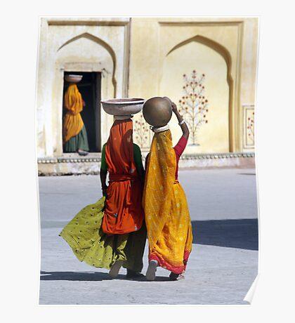 Three women, Amber Fort, Jaipur, India Poster