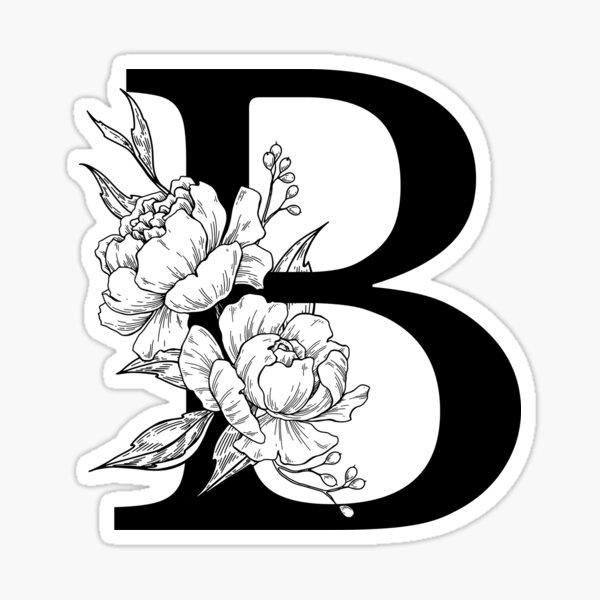 B Botanical Monogram. Detailed Peony Drawing Sticker
