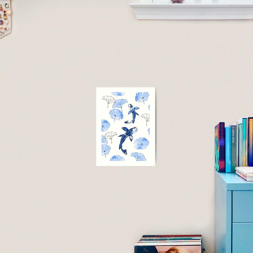 Waterlily koi in blue Art Print