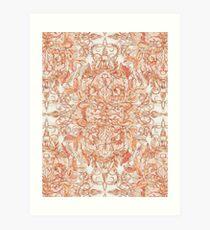 Autumn Peach Art Nouveau Pattern Art Print
