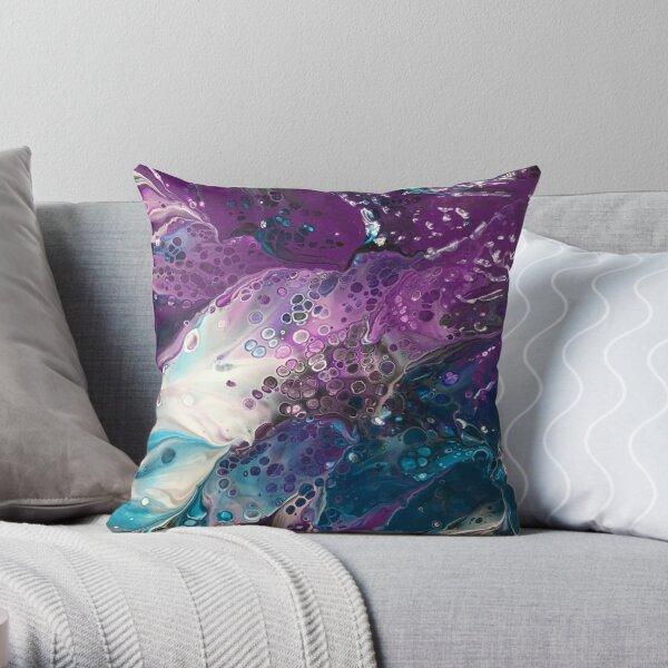 Turquoise & Purple Bubbles Throw Pillow
