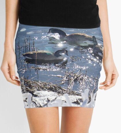 """Winter geese with a """"sparkle"""" ! Mini Skirt"""