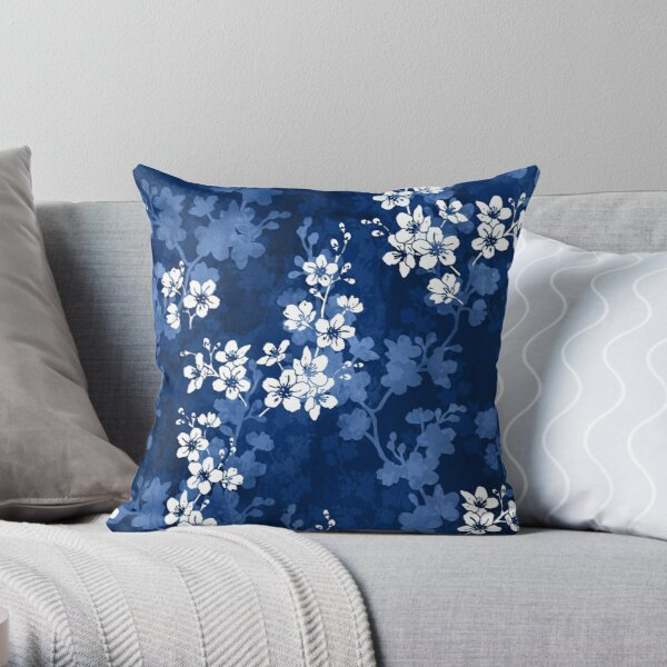 Sakura blossom in deep blue Throw Pillow