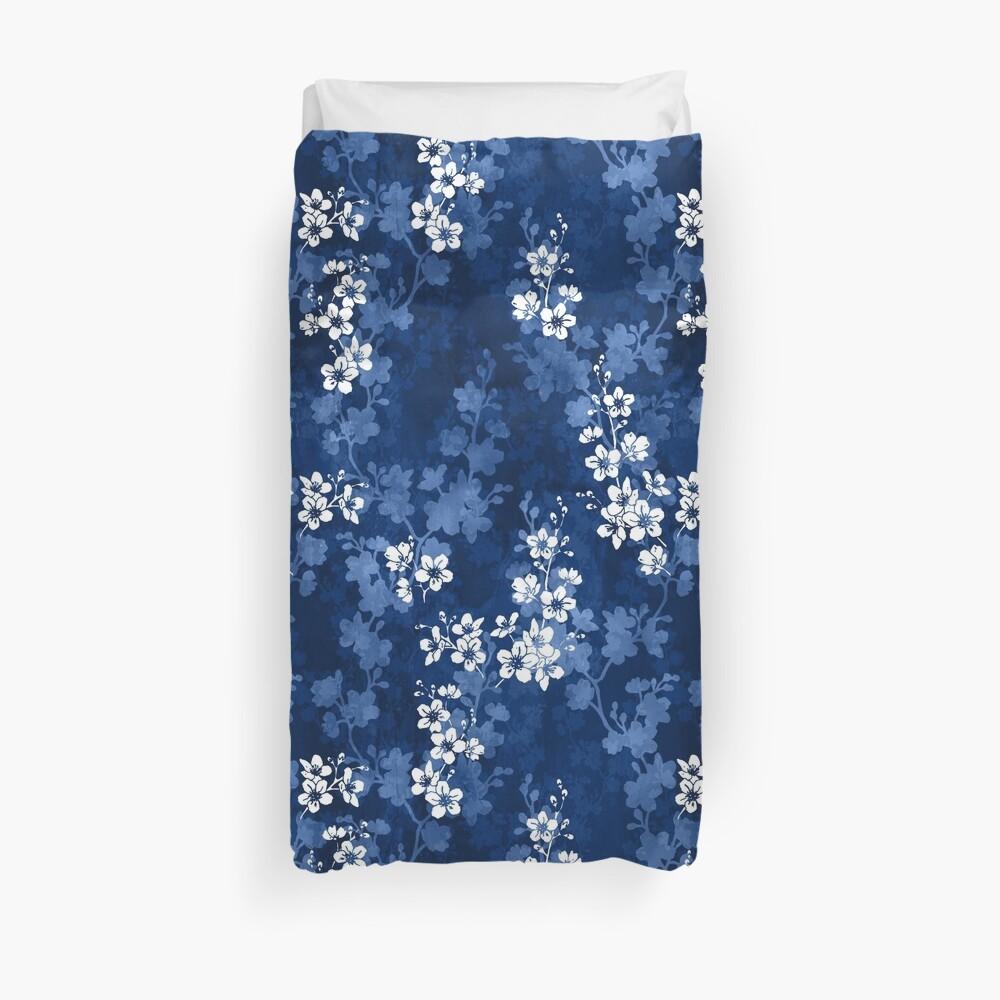Sakura blossom in deep blue Duvet Cover