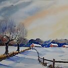 Peggy's Cottages in the Snow by FrancesArt