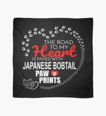 The Road To My Heart Is Paved With Japanese Bobtail Paw Prints - Gift For Passionate Japanese Bobtail Cat Owners Scarf