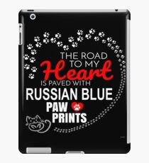 The Road To My Heart Is Paved With Russian Blue Paw Prints - Gift For Passionate Russian Blue Cat Owners iPad Case/Skin