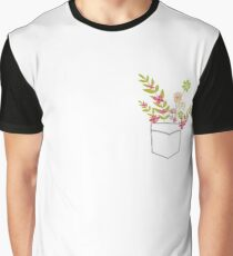 Pocket and flowers Graphic T-Shirt