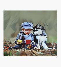 A Boys Best Friend is His Dog Photographic Print