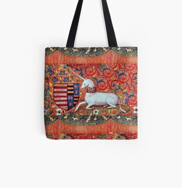 UNICORN ,FANTASY FLOWERS ,ANIMALS MEDIEVAL HERALDIC MOTIFS All Over Print Tote Bag