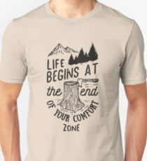 Life Begins At The End Of Your Comfort Zone (Black) Unisex T-Shirt