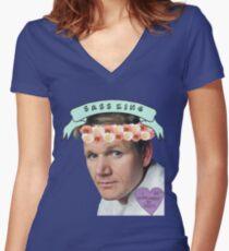 Gordon Ramsay Flower Crown Sass Women's Fitted V-Neck T-Shirt