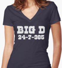 Big D 24-7-365 Shirt - Gift For Dallas Fans Women's Fitted V-Neck T-Shirt