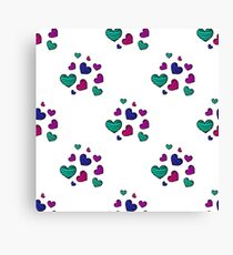 seamless pattern with colorful striped hearts Canvas Print