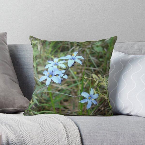 Blue-eyed Grass Throw Pillow